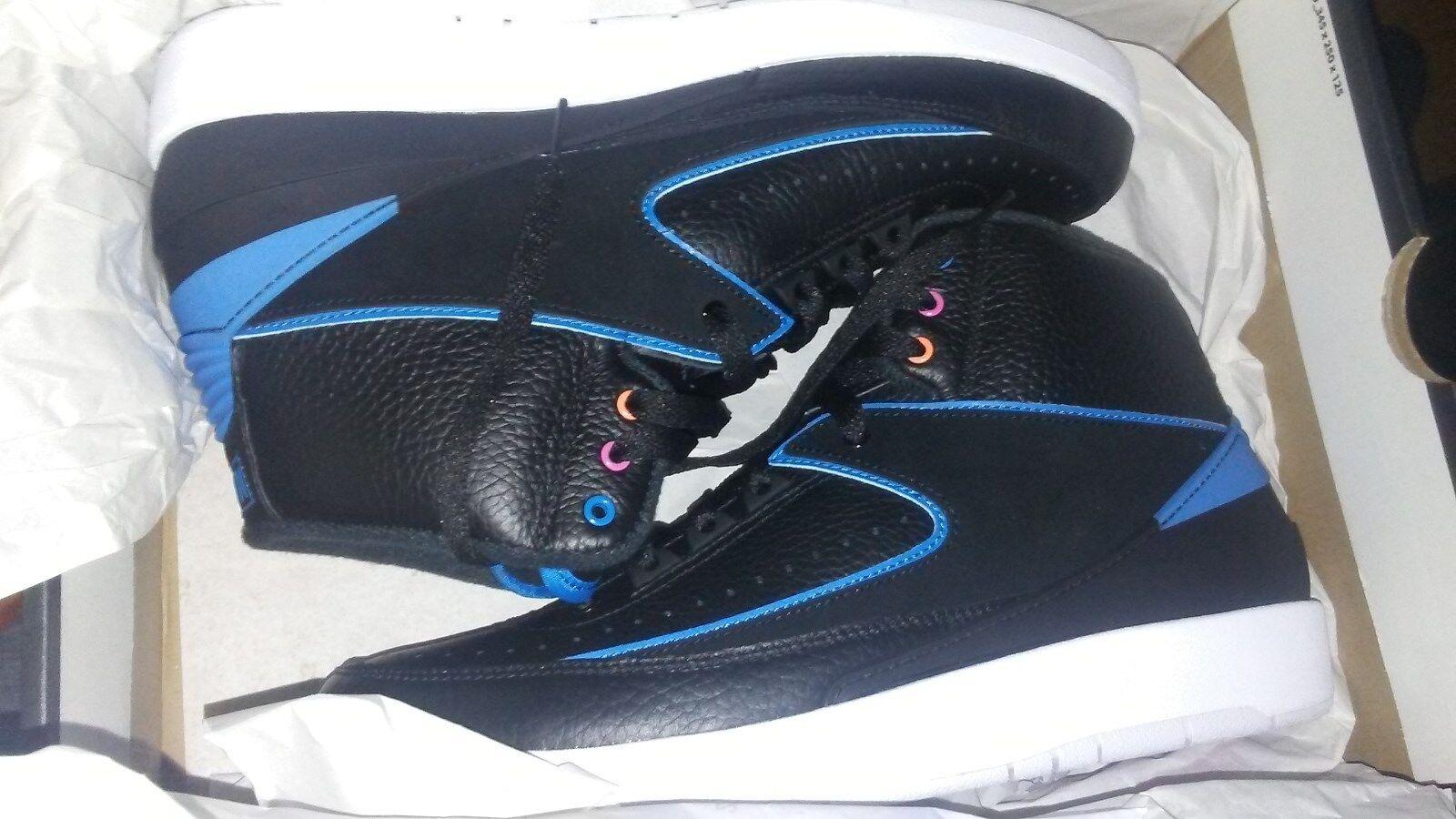AIR JORDAN RETRO 2 Radio Raheem black blueee shoes Sneakers black 10