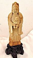 Antique 19th Century Chinese Soapstone Statue Emperor Holding Baby with Base 10""