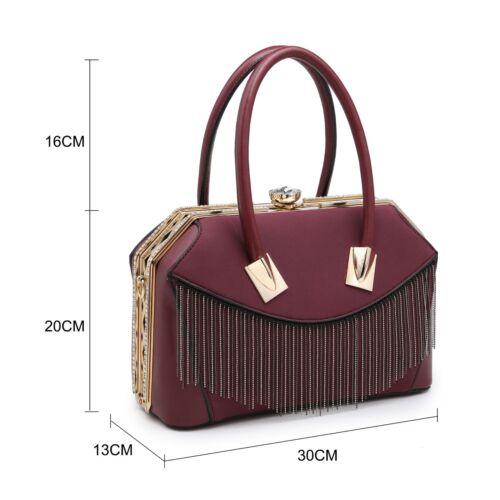 New Medium Diamante Clasp Women Handbags Patent Faux Leather Ladies Shoulder Bag