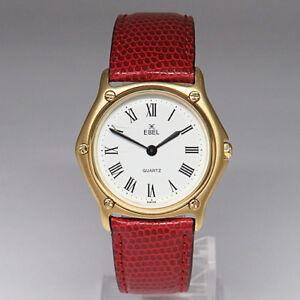 Ebel-1911-Medium-Quarz-Uhr-in-750-18K-Gelbgold-mit-Faltschliesse-Lederband