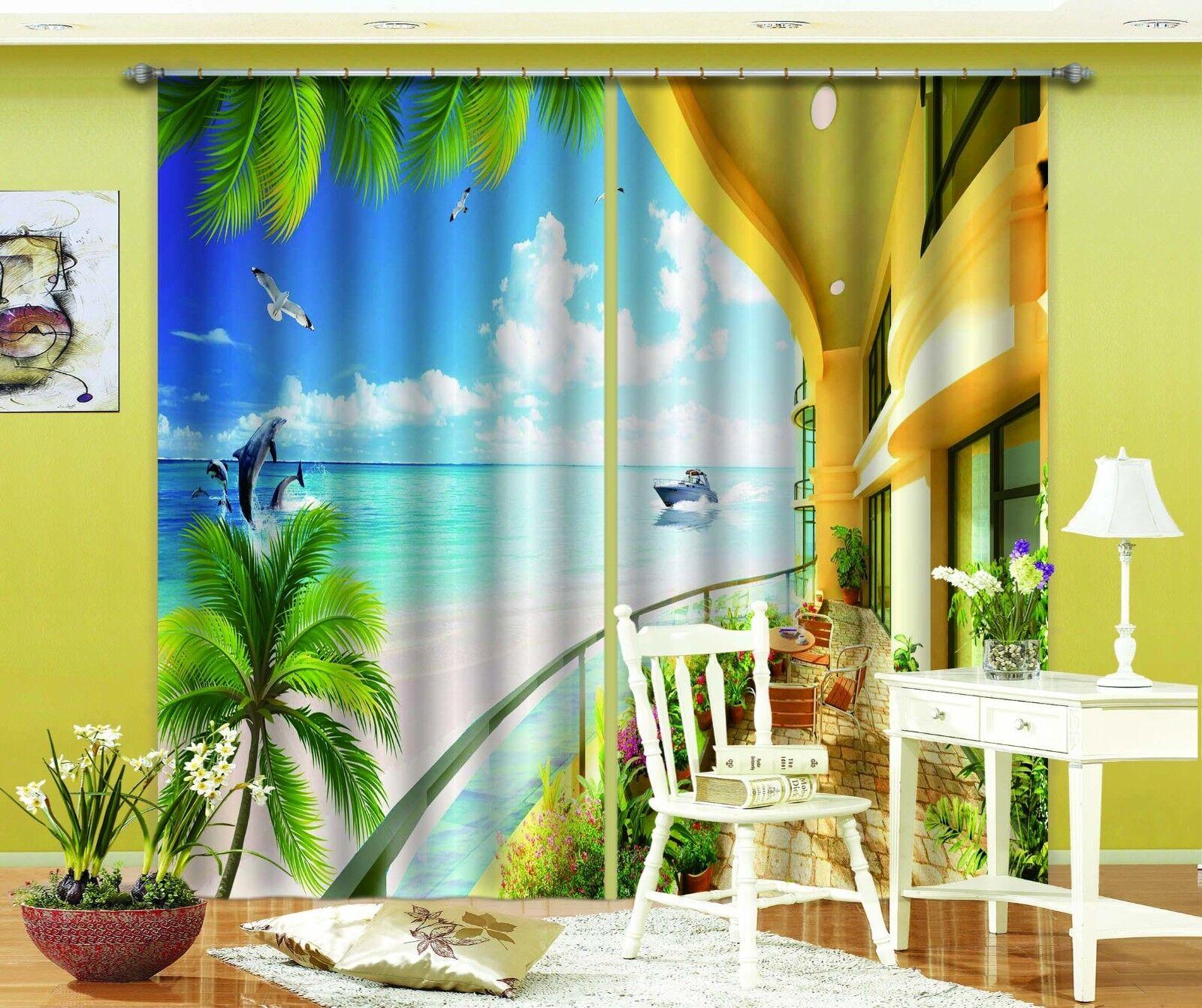 3D Mar balcón 93 Cortinas de impresión de cortina de foto Blockout Cortinas Ventana De Tela