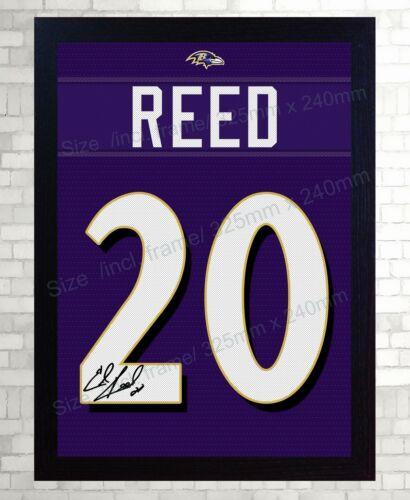 Ed Reed Baltimore Ravens NFL signed t-shirt Canvas 100% cotton Framed