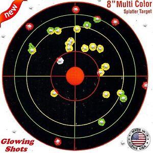 100-Pack-SHOOTING-TARGETS-Glow-Shot-Reactive-Splatter-Gun-Rifle-7-034-Paper-Target