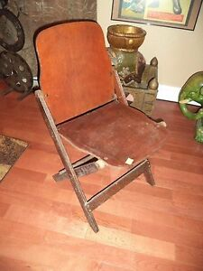 Image Is Loading Antique US American Seating Folding Wooden Chair