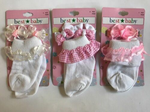 11pc Set Baby Girl Lace Cuff Socks Matching Hair Accessories White Pink NEW