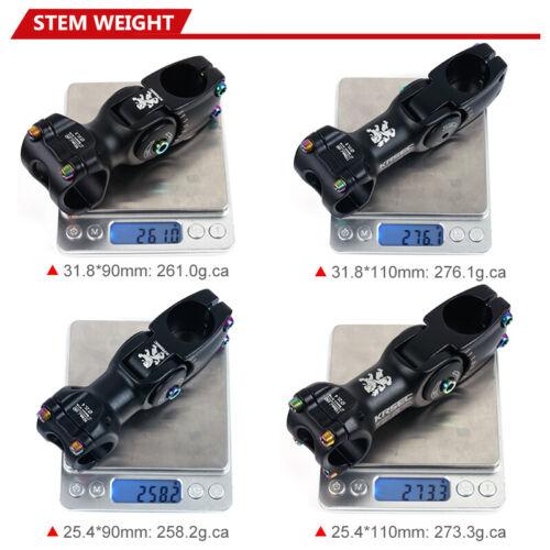 "KRSEC Stem 28.6*25.4//31.8mm ±60° 90//110mm MTB//Road Bike Handlebar Stem 1 1//8/"""