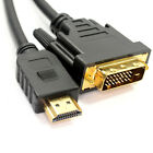 2m HDMI to DVI Cable DVI-D Dual Link 24+1 Pin Male to Male M-M Gold Plated 1080p