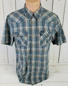 HOLLISTER-CO-Western-Styling-Mens-Plaid-SS-Pearl-Snap-Cowboy-Shirt-Size-L-Large