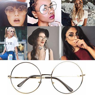 Attento Occhiali Hippie Moda Retrò Grande Rotondo Lennon Donna Lente Trasparente Occhiali-