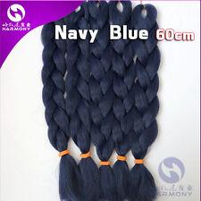 "New 24"" Kanekalon Jumbo Braiding Synthetic Hair Extension Twist Braids Navy Blue"