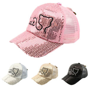 90e81c0f Image is loading Kids-Girls-Sequins-Summer-Baseball-Cap-Cartoon-Cat-