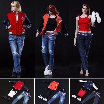 1//6 Figure Model Women Baseball Clothes Sport Suit Jeans Set F 12/'/' Phicen Body