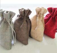 """JUTE HESSIAN BAGS - small jute gift bag 3.7""""x 5"""" (9.5cm-13cm) Red Grey Brown"""