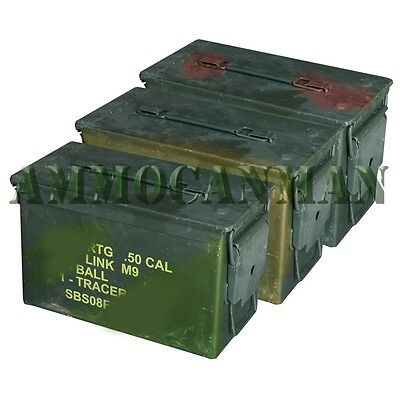3-PACK! THREE 50 CAL GRADE 2 AMMO CANS M2A1 5.56 EMPTY AMMUNITION CANS