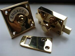 Brass Vacant Engaged Toilet Bathroom Lock Bolt Indicator Door Knobs Handles Ebay