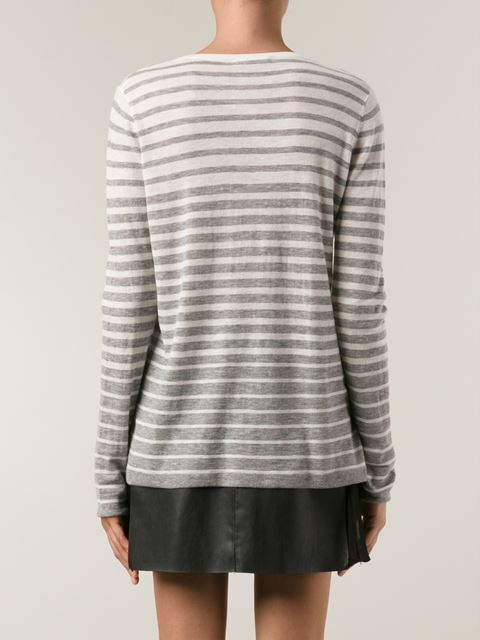 VL040 NWT VINCE STRIPE WOOL BLEND WOMEN SWEATER SIZE L  235