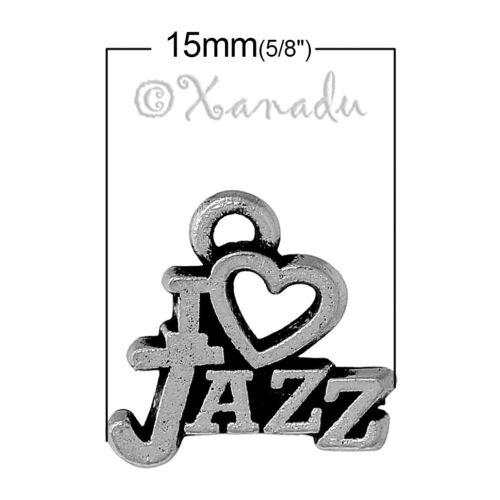 20 Or 50PCs I Heart Jazz Dance Wholesale Silver Plated Pendants C9764-10