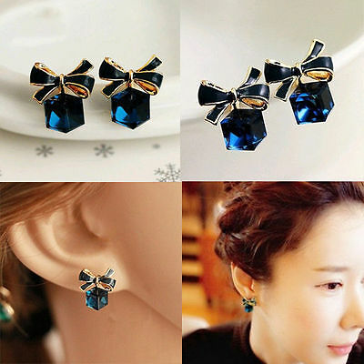 Chic Korean Bow knot Cube blue Crystal Ear Stud Earrings wedding party jewelry