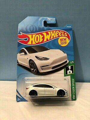 2019 Hot Wheels 174 Green Speed 1 5 Tesla Model 3 White W Gray Ra Spoke Wheels