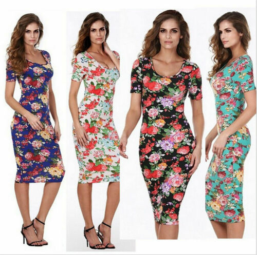 Hot Women Floral Print Slim Dress Bandage Bodycon Stretch Mini Pencil Dress