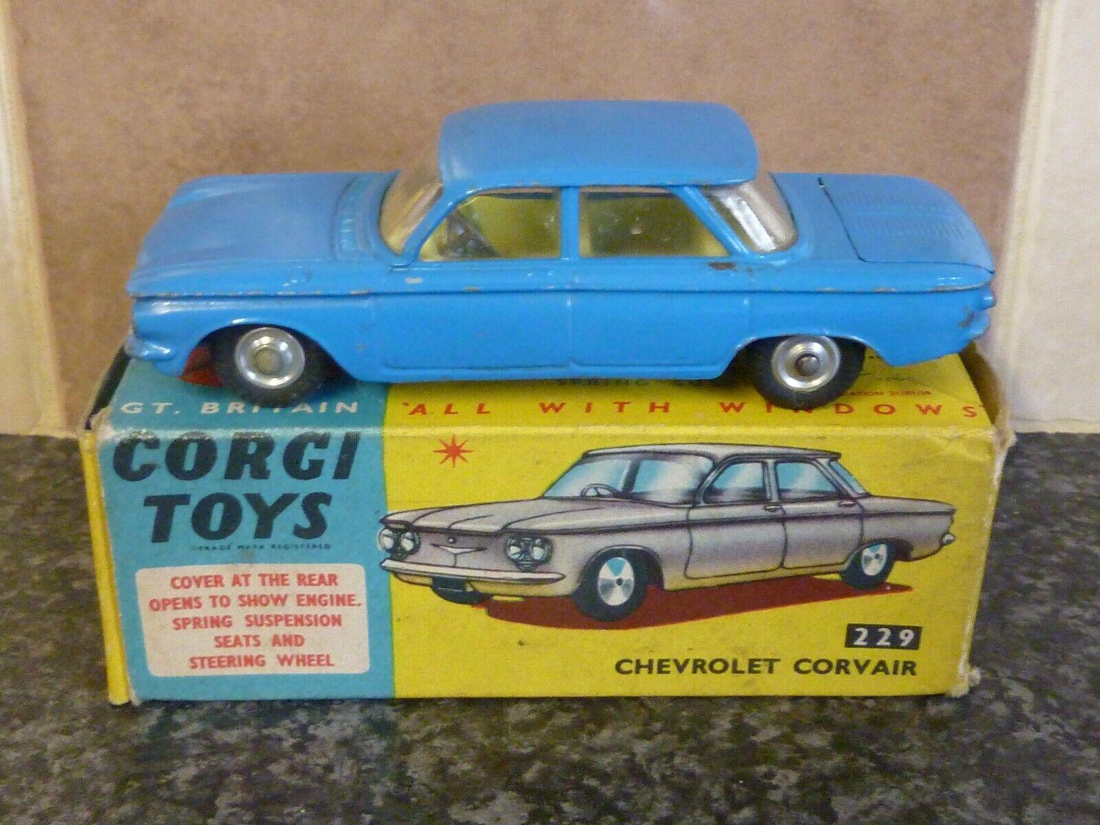 VINTAGE CORGI TOYS No.229 CHEVROLET CORVAIR blueE BOXED VGC FOR AGE