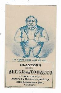 Old-Trade-Card-Clayton-039-s-Segar-Tobacco-Store-Nicetown-Philadelphia-Cigar-Smoking
