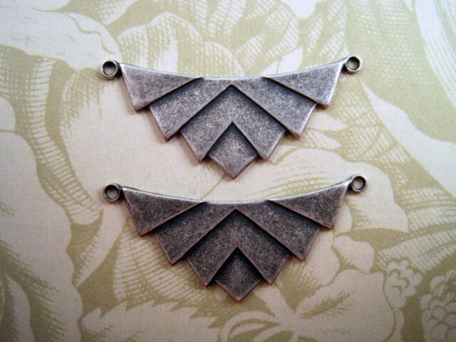 Oxidized Silver Plated Brass Geometric Chevron Connectors (2) - SOS7774