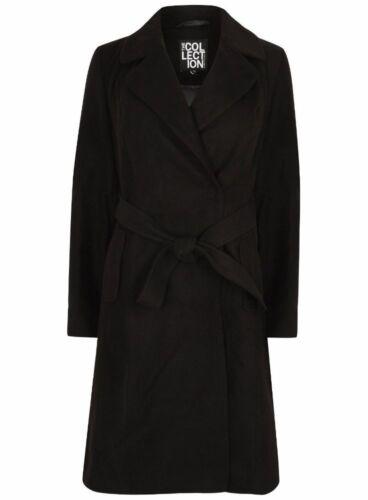 Ex Debenhams The Collection Black Long Sleeve Belted Jacket Coat Size 8-18