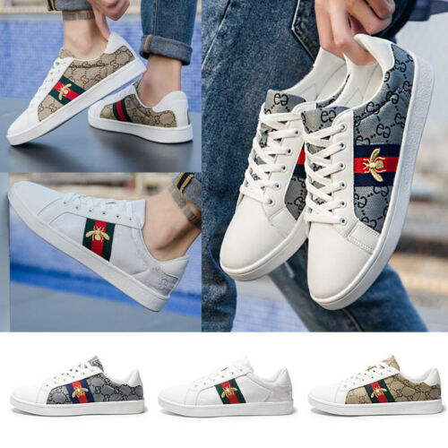 Mens Lace Up Embroidery Bee Canvas Shoes Sneakers Teens Flat Casual Trainers UK