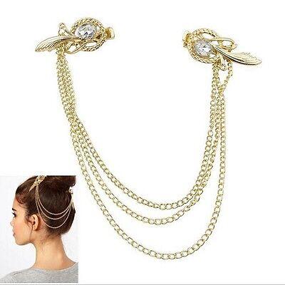 New Lady's Hair Accessory Crystal Golden Bird Nest Tassels Hair Clip Hairpin HG