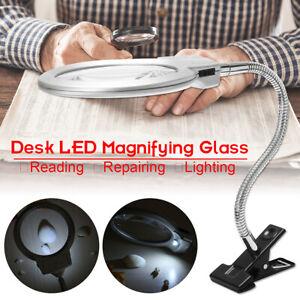 LED-Lampe-Tischlupe-mit-Schwanenhals-Klemme-Arbeitslupe-Vergroesserung-Lupe