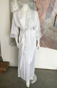 VINTAGE-Miss-Dior-Christian-White-Robe-Lace-Open-Front-Nightgown-R-SZ-Small