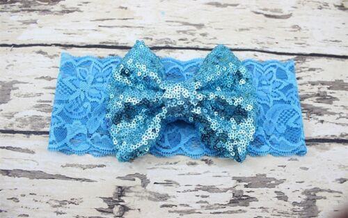 Bébé fille bandeau en dentelle douce grand sequin bow bande élastique hairband
