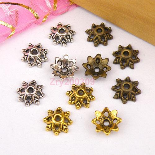 80Pcs Tibetan Silver,Antiqued Gold,Broze Bead Caps Jewelry Making DIY M1174