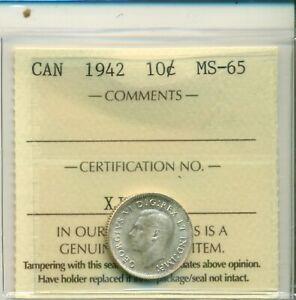ICCS-Canada-1942-10-cents-MS-65-XJE-348