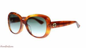 bb04de71c5 Image is loading Gucci-Women-Sunglasses-GG0140SA-002-Havana-Green-Gradient-
