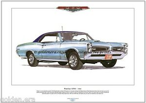 pontiac gto 1966 - kunstdruck - a3 größe - american muscle car 389