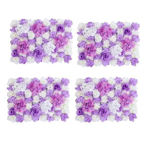 4pcs Artificial Flower Wall Panel Wedding Venue Flower Arrangement Purple