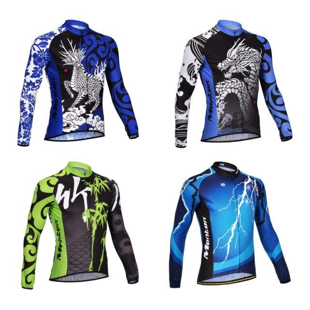 Monton Cycling Jersey Outdoor Sports Bike Bicycle Men's Long Sleeve Shirt Top