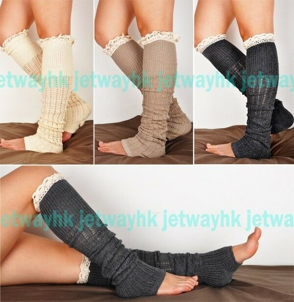 Crochet Lace Trim Cotton Knit Leg Warmers Boot Socks Knee High Gray Off White