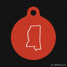 Mississippi Outline Keychain Round with Tab dog engraved many colors MS