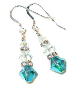 TEAL-amp-LT-AZORE-BLUE-Crystal-Earrings-Dangle-Sterling-Silver-Swarovski-Elements