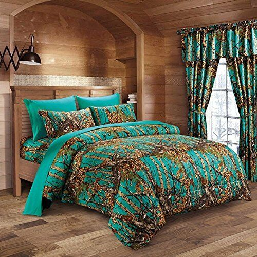 14 PC TEAL CAMO COMFORTER AND SHEET SET TWIN CAMOUFLAGE WOODS CURTAINS