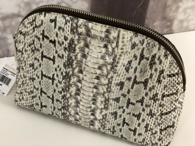 4d247dc0ff0b Michael Kors Large Snakeskin Travel Pouch Natural Cosmetic Makeup Case Snake