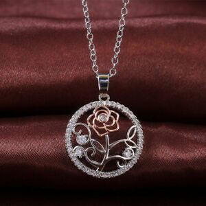 Fashion-White-Gold-Plated-Zircon-Crystal-Flower-Round-Pendant-Necklace-for-Women