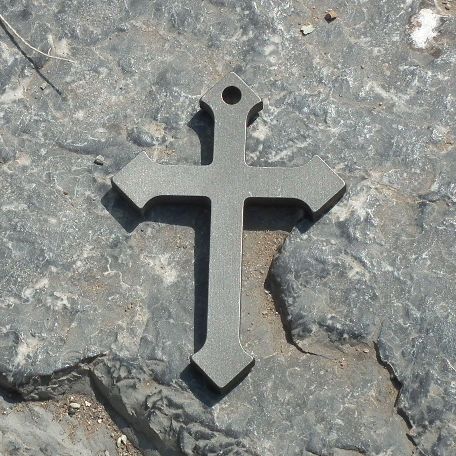 Titanium pry bar EDC Crucifix Cross Church Catholic Religious necclace pendant