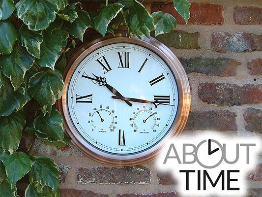 Gartenuhr in in in Kupfer-Optik mit Thermometer und Hygrometer 37cm Garten Wanduhr Uhr 2386e6