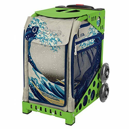 Zuca Great Wave Sport Insert Bag & Green Frame with Flashing Wheels