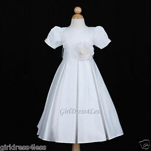 Off White Royal Wedding Formal Pleated Short Sleeves Pageant Flower Girl Dress