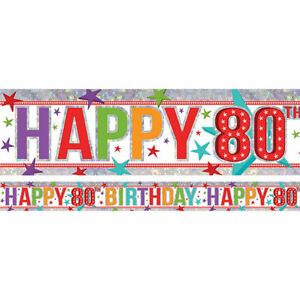 2.7m Holographic Happy 40th Birthday Multi Coloured Foil Banner